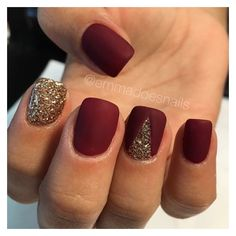 Matte nails, red nails, glitter nails, gold nails, fall nails, nail... ❤ liked on Polyvore featuring beauty products, nail care, nail treatments and nails