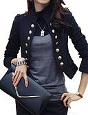 Women\'s Casual/Daily / Work Street chic All Seasons Blazer,Solid Standing Collar Long Sleeve White / Black Cotton / Polyester Medium