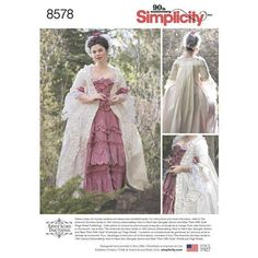 Simplicity Pattern 8578 Misses' 18th Century Gown - sewing pattern for a Robe a la Francaise with Petticoat by American Duchess. Use this pattern in conjunction with The American Duchess Guide book. Model: Abby Cox