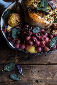 Fall Harvest Cider Roasted Chicken with Walnut Goat Cheese + Grapes by halfbakedharvest #Chicken #Cider #Grapes #Goat_Cheese