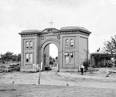 Gettysburg, Pa. The cemetery gatehouse near completion, 1863. Abraham Lincoln dedicated the cemetery on November 19, 1863 and gave the now famous Gettysburg Address.