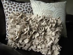 """Knit ruffle pillow makeover inspired by """"V and Co"""" at vanessachristenson.com  Love the colors, texture, and prints"""