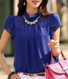 Blusa 2015 New Women Fashion Chiffon Blouse Shirts Short Sleeve Summer Tops Shirt Blue Solid Casual Blouse Women's Summer Fashion, Love Fashion, Womens Fashion, Chiffon Tops, Blouses For Women, Casual Shirts, Nice Dresses, Ideias Fashion, Outfits
