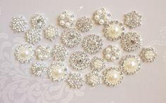 Rhinestone Pearl Push Pins Ivory Pearl by fluteofthehour on Etsy