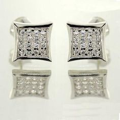 Micro Pave Earrings. Sterling Silver with Cubic Zirconia.