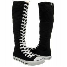Athletics Converse Women's CT All Star XX Hi Black/White, already in my collection :) Knee High Converse, Knee High Sneakers, Converse Boots, Black High Boots, Knee High Boots, Chuck Taylors, Converse Chuck Taylor, Cute Emo Outfits, Grunge Outfits