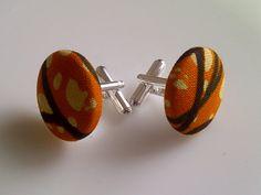African Print Button Cufflinks Orange Cream & by JustThingsbyLx, £6.00