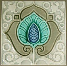 Belgian Art Nouveau tile c. 1900.