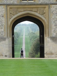 View to the Long Walk, Windsor Great Park, road leads to Windsor Castle.
