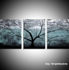affordable wall art Original acrylic paintings on canvas abstract triptych landscape tree of life pa