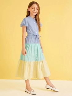 To find out about the Girls Colorblock Button Fly Belted Striped Dress at SHEIN, part of our latest Girls Dresses ready to shop online today! Girls Fashion Clothes, Kids Fashion, Girl Outfits, Fashion Dresses, Stylish Dress Designs, Stylish Dresses, Cute Dresses, Houndstooth Dress, Striped Dress