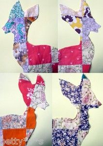 Cut outs for appliqué crafts: 4 Bambi deer shapes made with vtg patchwork fabric