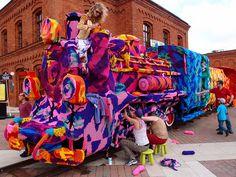 Olek Covers Entire Locomotive in Crocheted Yarn