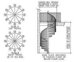 Résultat d'images pour Indoor Spiral Stair Dimensions Standard Spiral Staircase Dimensions, Spiral Staircase Plan, Stair Dimensions, Spiral Staircases, Stair Detail, Architectural Section, House Stairs, Under Stairs, Floor Finishes