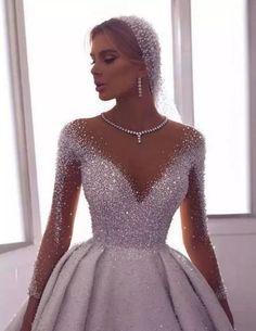 71 illusion long sleeve wedding dresses you'll like 8 Wedding Gowns With Sleeves, Long Wedding Dresses, Bridal Dresses, Dresses With Sleeves, Gown Wedding, 1920 Dresses, Wedding Bride, Modest Wedding, Dresses Dresses