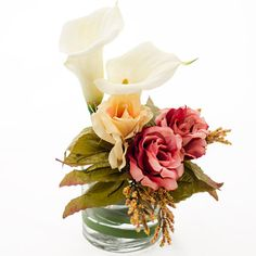Real Touch White Calla Lily Roses Cylinder Glass Vase