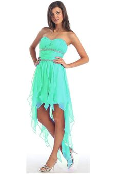 +mint+Green+Cocktail+Dresses | ... Strapless mint green high low homecoming prom party dresses 2014
