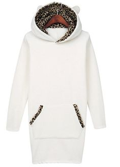 Autumn Essential Hooded Collar Long Sleeve Sweats White