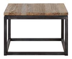 Table d'appoint bois d'orme recyclé, naturel et noir - 65*65