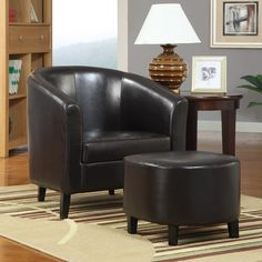 Barrel Back Accent Chair with Ottoman
