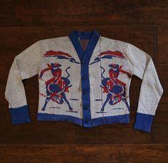 1950s Vintage Cowboy Western Sweater Cardigan
