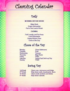 Household Chore Chart for Adults | Daily/Weekly Cleaning Chore ...