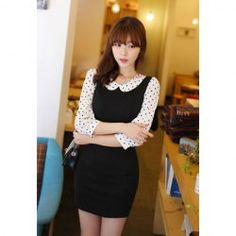 $8.08 Sweet Peter Pan Collar Color Splicing Dot Print Bodycon Dress For Women