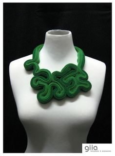 Green Felt Statement Necklace