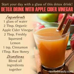 Detox drink with apple cider vinegar. ACV is a natural detoxifer. This drink promotes colon cleansing, clear bright skin, energy and antibacterial/antifungal. One in the morning one at night for a month does wonders! Detox drink with apple cider Vinegar Detox Drink, Apple Cider Vinegar Detox, Organic Apple Cider Vinegar, Vinegar Cleanse, Vinegar Diet, Apple Cider Vinegar For Weight Loss, Apple Cider Vinegar Mother, Acv Diet, Unfiltered Apple Cider Vinegar
