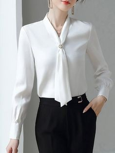 Stylewe Long Sleeve 1 White Women Blouses Elegant Polyester V Neck Elegant Date Paneled Blouses Formal Tops For Women, Stylish Tops For Women, Classy Work Outfits, Designs For Dresses, Mode Inspiration, Blouse Designs, Blouses For Women, Ideias Fashion, Fashion Outfits
