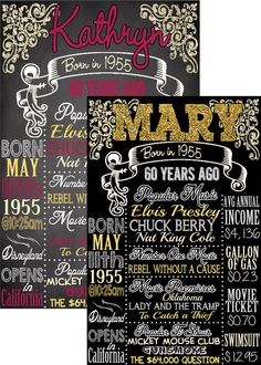 1955 birthday board things happening this by CustomPrintablesNY 60th Birthday Ideas For Mom, 60th Birthday Decorations, 70th Birthday Parties, Birthday Gift For Him, Teen Birthday, Birthday Board, Birthday Woman, Fathers Day Quotes, Chalkboards