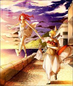 Tags: Anime, Apple, Walking, MAGI: The Labyrinth of Magic, Ali Baba Saluja, Morgiana, Pixiv Id 8525594