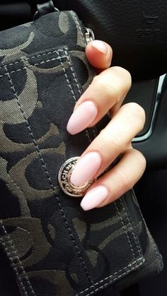 ♡ light pink short coffin nails