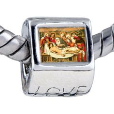 Pugster Entombment Christ Beads - Chamilia Bead & Bracelet Compatible Pugster. $0.97. Bracelet sold separately. Hole size is approximately 4.8 to 5mm. It's the photo on the love charm. Unthreaded European story bracelet design. Fit Pandora, Biagi, and Chamilia Charm Bead Bracelets