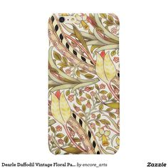Dearle Daffodil Vintage Floral Pattern Glossy iPhone 6 Plus Case - This cheerful floral repeating pattern was designed by John Henry Dearle and block printed onto cotton by Morris & Company in about 1891. Sold at Encore_Arts on Zazzle.