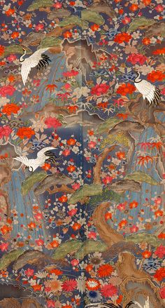 the detail of Furisode (long-sleeved kimono), Japan, Late 19th early 20th century