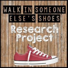 Walk in Someone Else's Shoes Research Project by Ms Gs Got Class Teaching Literature, Teaching Writing, Teaching Tools, Teaching English, High School Literature, English Teachers, English Classroom, American Literature, Middle School Ela