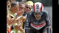Radioshack-Nissan rider Fabian Cancellara of Switzerland crosses the finish line during the individual time trials.