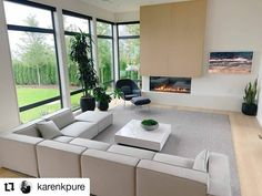 A stunning modern home pic from @karenkpure of her fabulous living room with Westeck custom black floor to ceiling windows! #customhomes #customwindows #windowdesign #fenestration #interiordesign #architecture #highperformancewindows #beautifulhomesofinstagram Black Floor, Custom Windows, Floor To Ceiling Windows, Home Pictures, Window Design, Custom Homes, Beautiful Homes, Flooring, Living Room