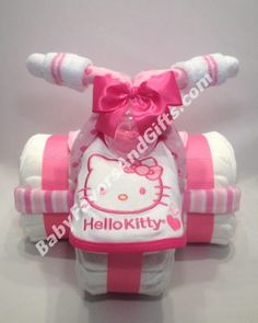 Hellow Kitty Tricycle Diaper Cake, BabyFavorsAndGifts.com                                                                                                                                                                                 More
