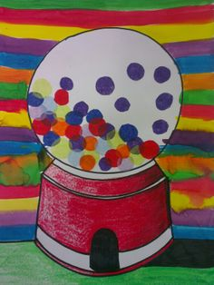 Wayne Thiebaud inspired Gumball Machines - Year 3/4 - crayon, marker, ink and tissue paper.