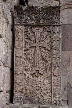 Khachkar (Armenian cross-stone) carved by the artist Poghos in 1291, at Goshavank Monastery, Armenia
