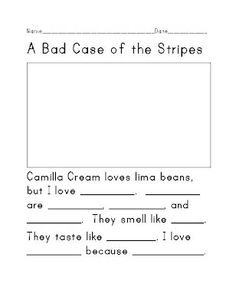A real quick freebie link up. I love the book A Bad Case of Stripes by David Shannon and I always use it in the beginning of the year t. 1st Grade Writing, First Grade Reading, Kindergarten Writing, Literacy, Elementary School Counselor, School Counseling, Elementary Schools, Student Teaching, Teaching Reading