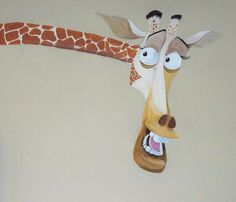 Madagascar Themed Children's Mural Please read by LynneMackMurals, Etsy. Hand Painted. Part of a whole wall mural for a child's playroom. decorativepaintingbylynne.weebly.com