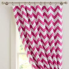 Chevron Blackout Drape | PBteen Love chevron - love blackouts -love the price $47/panel - comes in turquoise and green, also.