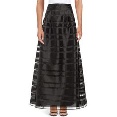 Alex Evenings Striped Maxi Skirt ($82) ❤ liked on Polyvore featuring skirts, black, long elastic waist skirt, pleated skirt, long maxi skirts, long pleated skirt and elastic waist skirt