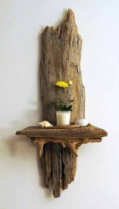 Driftwood Shelf Candle Holder Sconce Beach Decor Driftwood Art