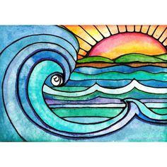Wild Surf 8 x 10 sunset sun art print painting beach waves ocean art print water beach painting waves print sunrise art