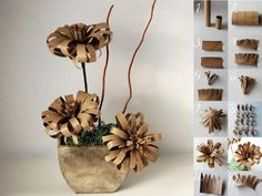 Paper Flower made from a recycled wrapping paper tube and a recycled toilet…