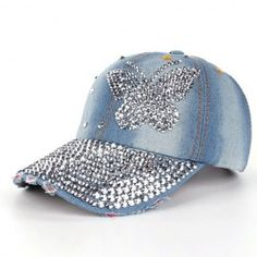 High Quality Women Men Butterfly Denim Rhinestone Baseball Cap Snapback Hip  Hop Flat Hat casquette de marque Brand Name  feitongMaterial   CottonDepartment ... bca9bf29d8b4
